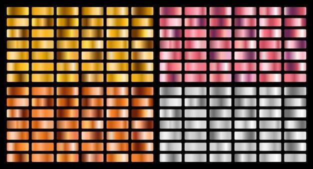 Kolekcja gradientu złota, srebra, różu, pomarańczy i metalu oraz zestaw tekstur ze złota.