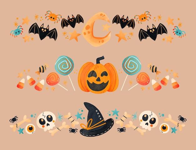 Kolekcja granic akwarela halloween