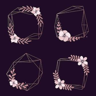 Kolekcja granic ślubu kwiatowy