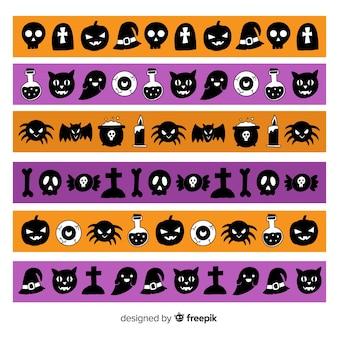Kolekcja granic stworzeń halloween