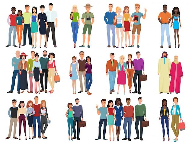 Kolekcja grup osób i par. różnorodni kreskówek istoty ludzkie w biurowych i przypadkowych strojach odziewają, młodzi ucznie ilustracyjni