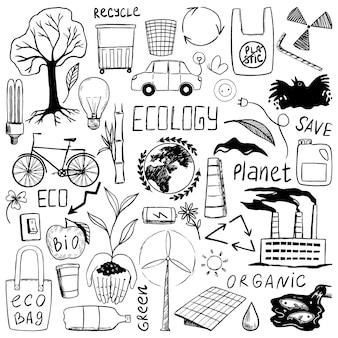 Kolekcja gryzmołów o tematyce ekologicznej, pisma. konturowe rysunki zielonej energii, recyklingu, organiczne, ratowania planety. ręcznie rysowane ilustracji wektorowych do projektowania. czarne szkice elementów na białym tle.