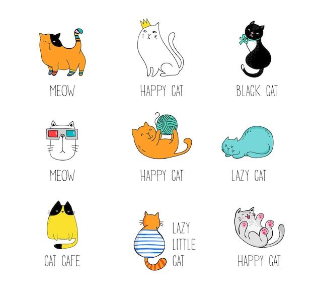 Kolekcja gryzmołów z kotami