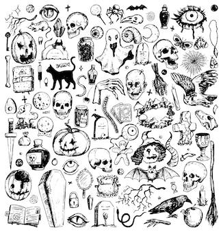 Kolekcja gryzmoły halloween. styl vintage szkicu. przerażające, magiczne, ezoteryczne, tajemnicze klipy do projektowania wakacyjnego. ręcznie rysowane wektor zestaw ilustracji na białym tle.