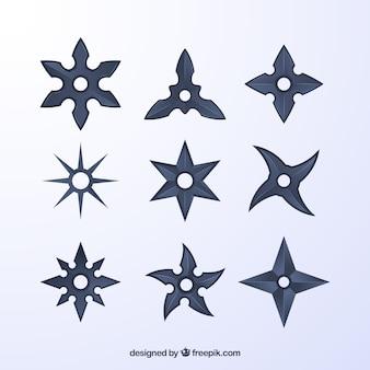 Kolekcja gwiazd ninja w szarym kolorze