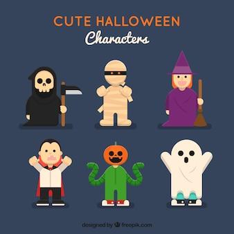 Kolekcja halloween charakter w płaskim stylu