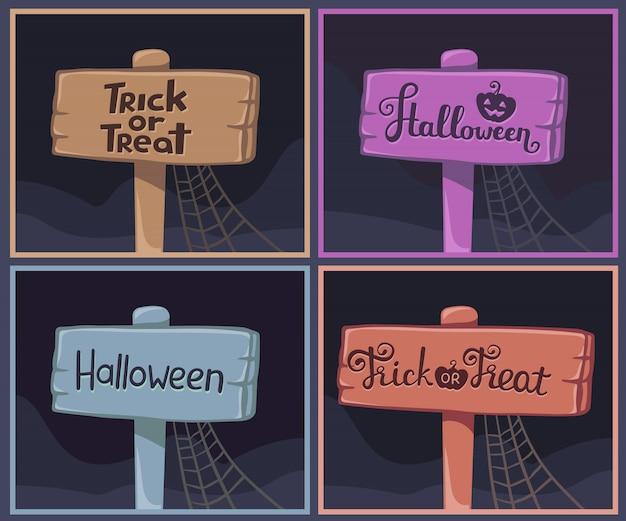 Kolekcja halloween drewniane deski z tekstem