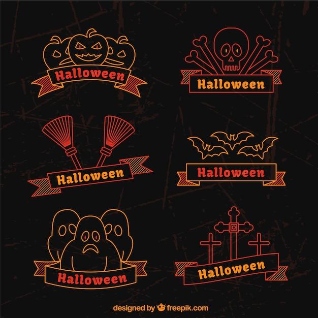 Kolekcja halloween znaczków w stylu płaskiej