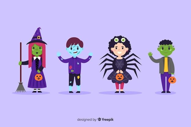 Kolekcja halloweenowych kostiumów dla dzieci w płaskiej konstrukcji