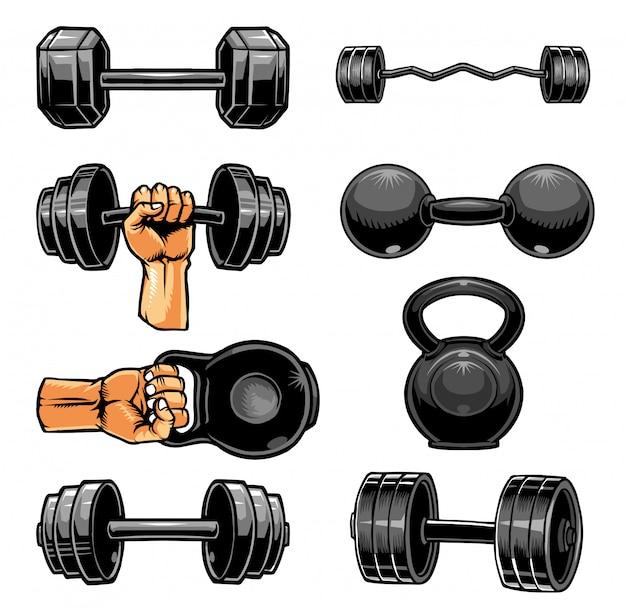 Kolekcja hantli na siłowni