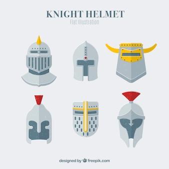 Kolekcja hełmu rycerzy w płaskim stylu
