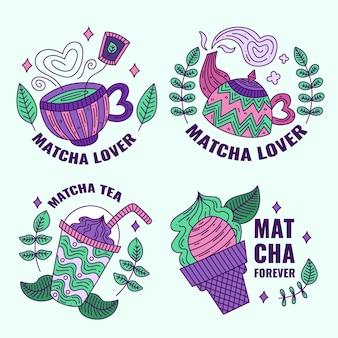 Kolekcja herbacianych odznak matcha
