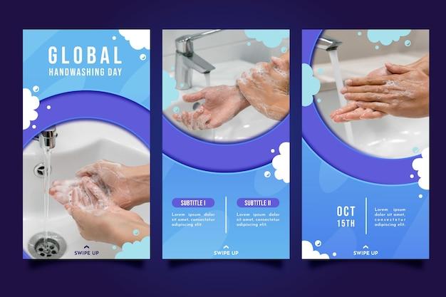 Kolekcja historii na instagramie na temat globalnego dnia mycia rąk w stylu papieru