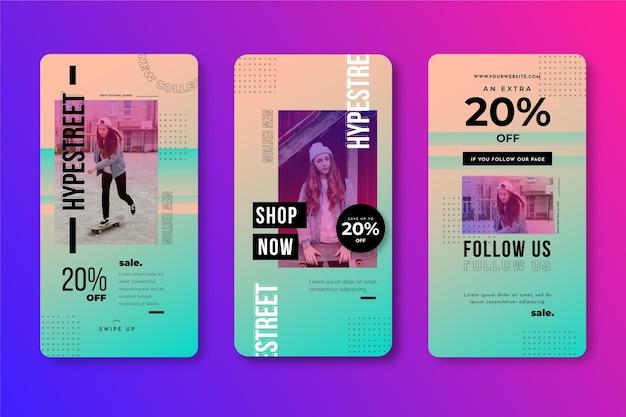 Kolekcja historii na instagramie w sprzedaży gradientowej
