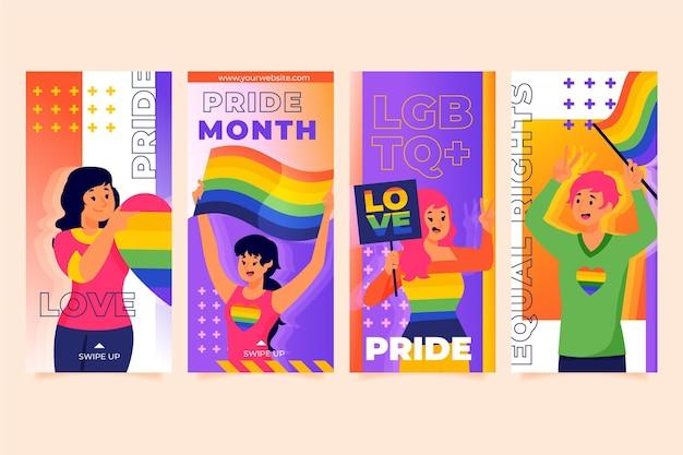Kolekcja historii na instagramie z gradientowym dniem dumy