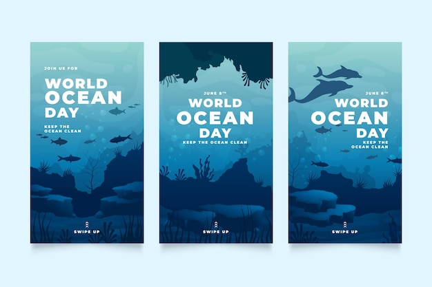 Kolekcja historii na instagramie z gradientowym światem oceanów