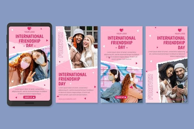 Kolekcja historii na instagramie z płaskim międzynarodowym dniem przyjaźni