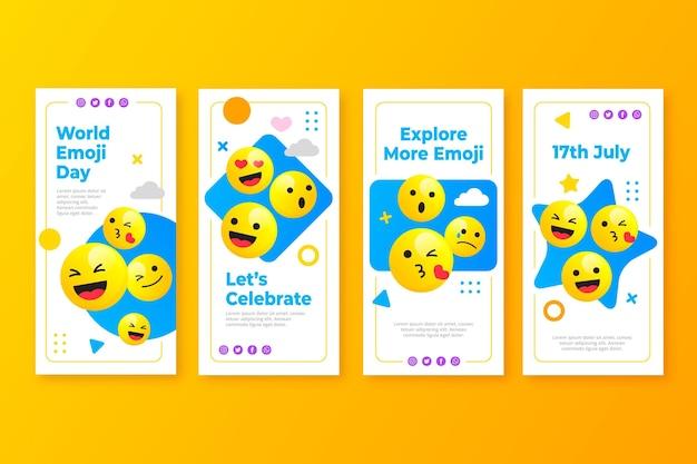 Kolekcja historii na instagramie z płaskim światowym dniem emoji