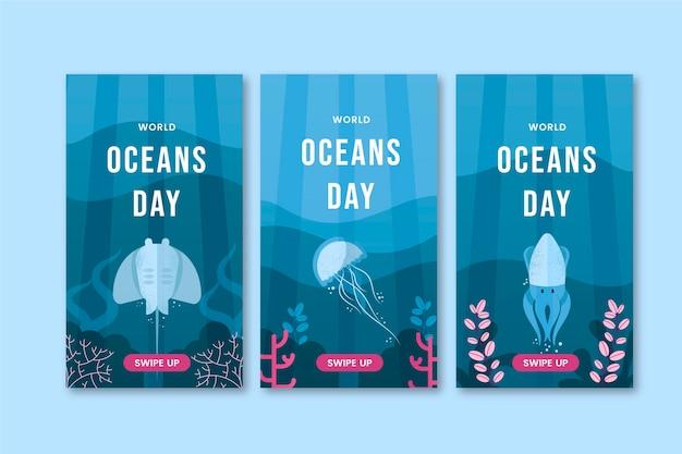 Kolekcja historii na instagramie z płaskim światowym dniem oceanów