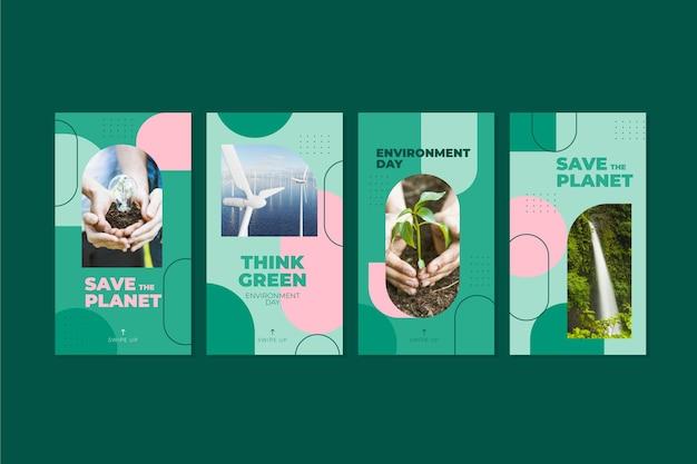 Kolekcja historii na instagramie z płaskim światowym dniem środowiska