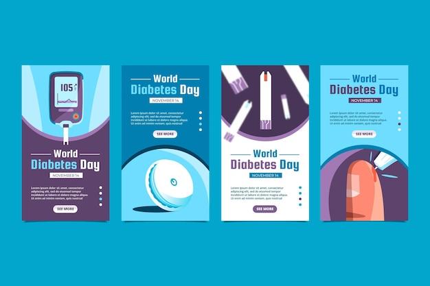 Kolekcja Historii Płaskiego światowego Dnia Cukrzycy Na Instagramie Darmowych Wektorów