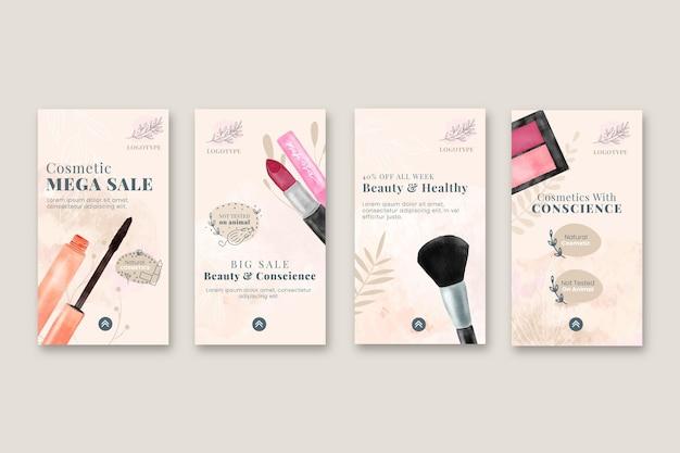Kolekcja historii sprzedaży kosmetyków na instagramie
