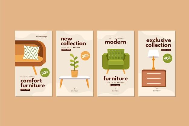 Kolekcja historii sprzedaży mebli płaskich na instagramie