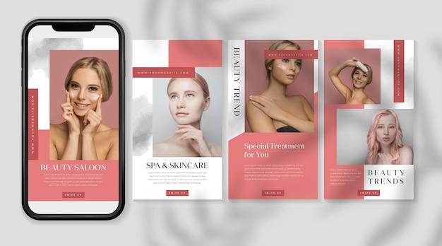 Kolekcja historii z mediów społecznościowych salonu piękności