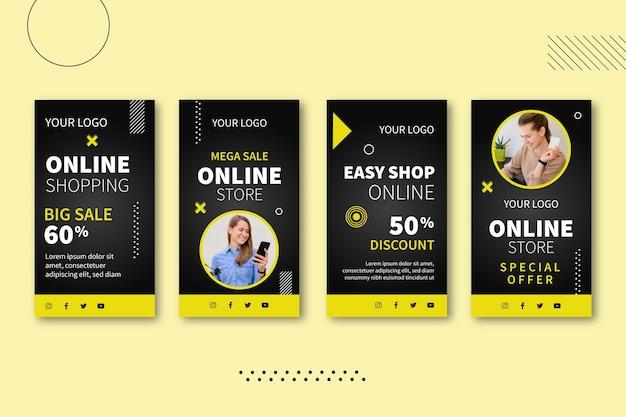 Kolekcja historii zakupów online na instagramie