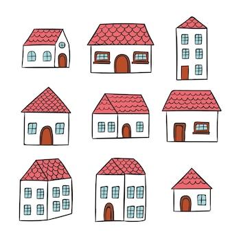 Kolekcja house ręcznie rysowane styl
