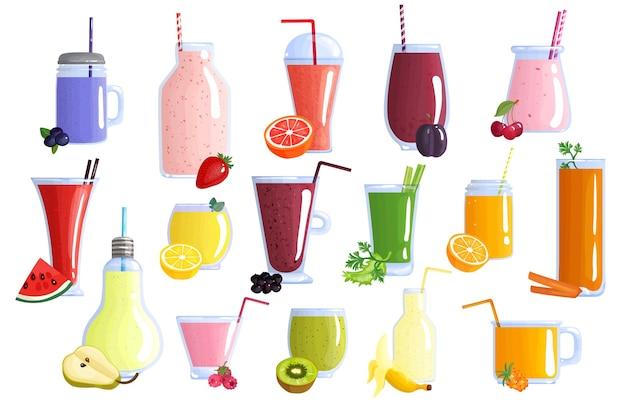 Kolekcja ikon apetycznych zdrowe kolorowe koktajle owocowe z bananowym arbuzem pomarańczowym jagodowym kiwi i cytryną na białym tle ikony ilustracja
