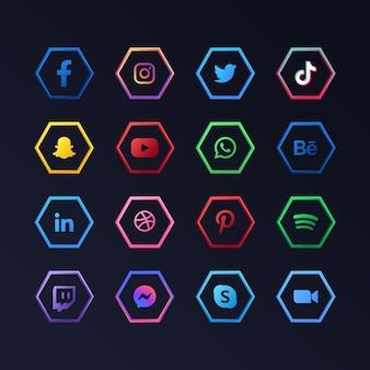 Kolekcja ikon aplikacji mediów społecznościowych