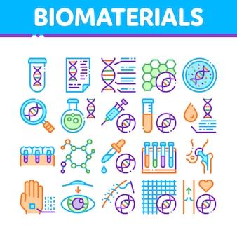 Kolekcja ikon biomateriałów