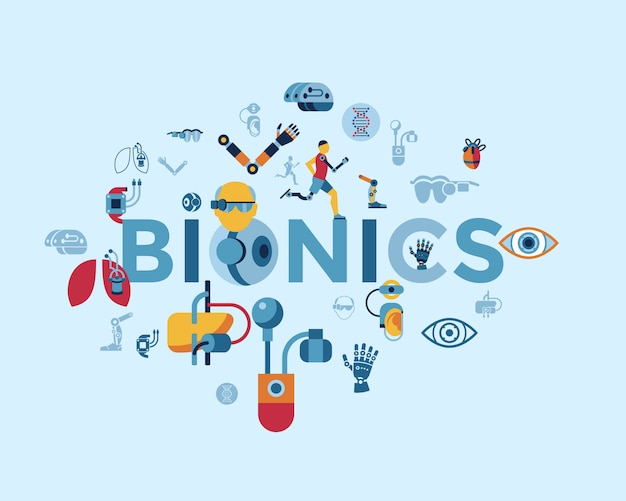 Kolekcja ikon bioniki i sztucznej inteligencji
