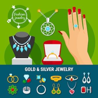 Kolekcja ikon biżuterii z modnymi złotymi i srebrnymi pierścionkami, kolczyki, broszka, ćwieki, bransoletki na białym tle