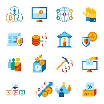 Kolekcja ikon demokracji i bezpieczeństwa crypto