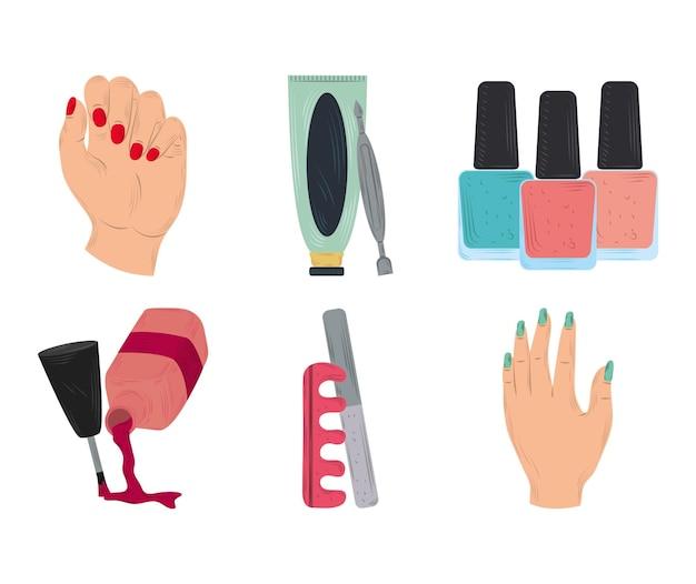 Kolekcja ikon do manicure, lakiery do paznokci, kobiece dłonie i narzędzie do pielęgnacji separatora palców w stylu cartoon ilustracji