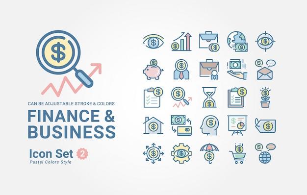 Kolekcja ikon finansów i biznesu