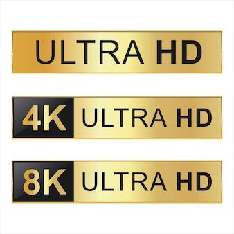 Kolekcja ikon full hd 4k 8k i ultra hd