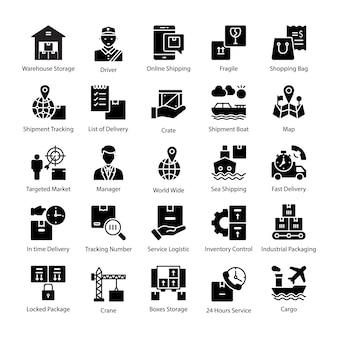 Kolekcja ikon glifów logistyki