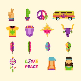 Kolekcja ikon hippie