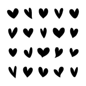 Kolekcja ikon ilustrowane serca