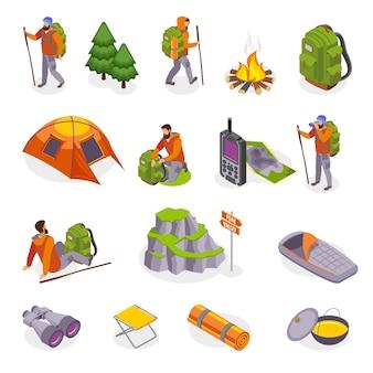 Kolekcja ikon izometrycznych na piesze wycieczki z izolowanymi obrazami przedmiotów wyposażenia kempingowego i ludzkich postaci turystów