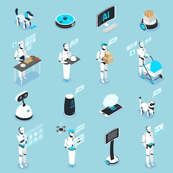 Kolekcja ikon izometrycznych robotów domowych z asystentami sterowanymi cyfrowymi ekranami dotykowymi do opieki nad zwierzętami