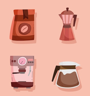 Kolekcja ikon kawy