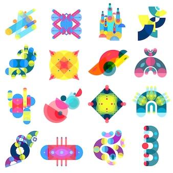 Kolekcja ikon kolorów kształtów