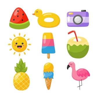 Kolekcja ikon lato na białym tle.