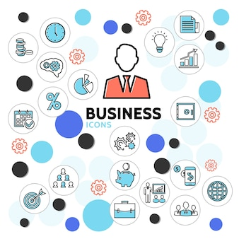 Kolekcja ikon linii biznesowych z zegarem biznesmen diagram kalendarza bezpieczna żarówka dokumenty teczki