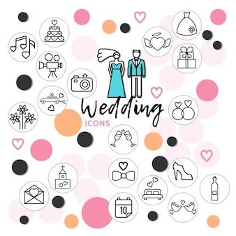 Kolekcja ikon linii ślubu z para muzyka ciasto sukienka pierścienie buty gołębie list butelka szampana