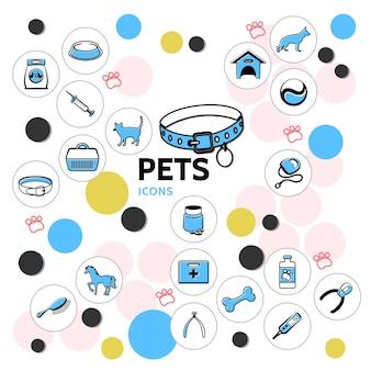 Kolekcja ikon linii zwierząt z obrożami dla kotów i psów nosicieli paszy grzebień obcinacz do paznokci konia instrumenty medyczne